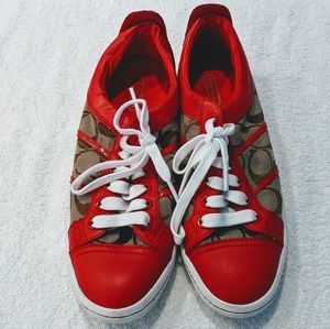 COACH Signature Tennis Shoes Red 8
